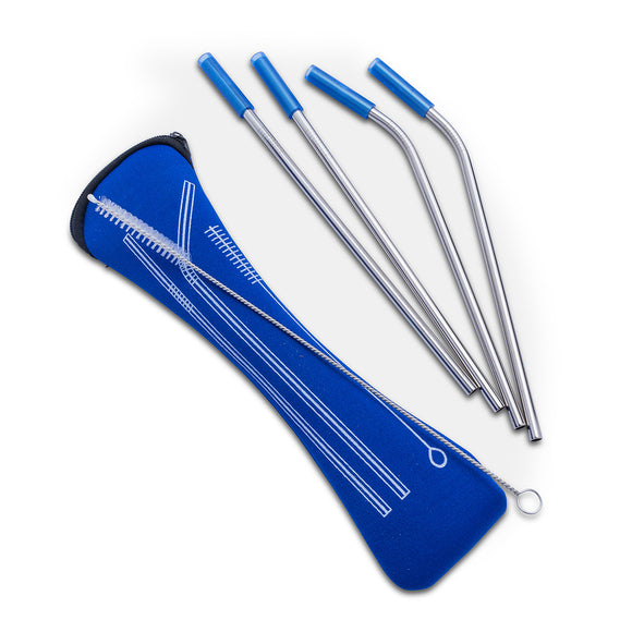 Straws Assorted</br>Stainless Steel w/ Blue