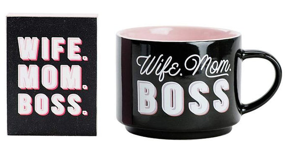 Mug & Block Set </br>Wife. Mom. Boss.