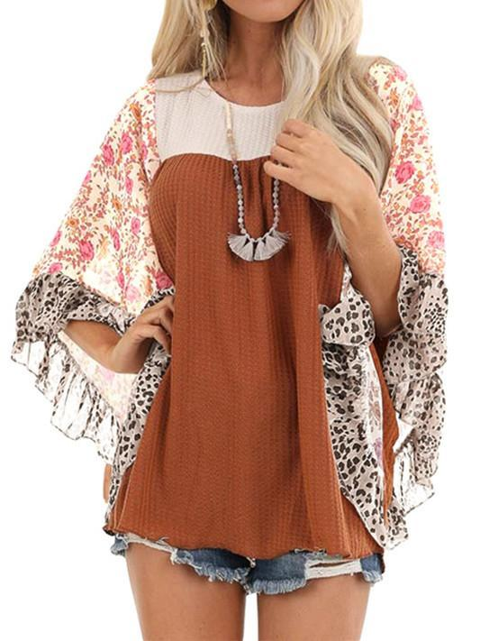 Half Sleeve Tops Floral Printed Stitching Scoop Neck Casual Blouse