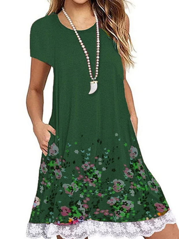 Women Lace Stitching Round Neck Short Sleeve Printed Dress