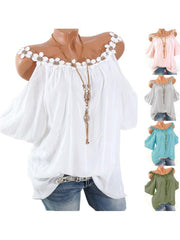 Women Round Neck Short Sleeve Lace Cold Shoulder Tops Blouse