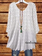 Women V-neck 3/4 Sleeve Polka Dot and Heart Printed Tops