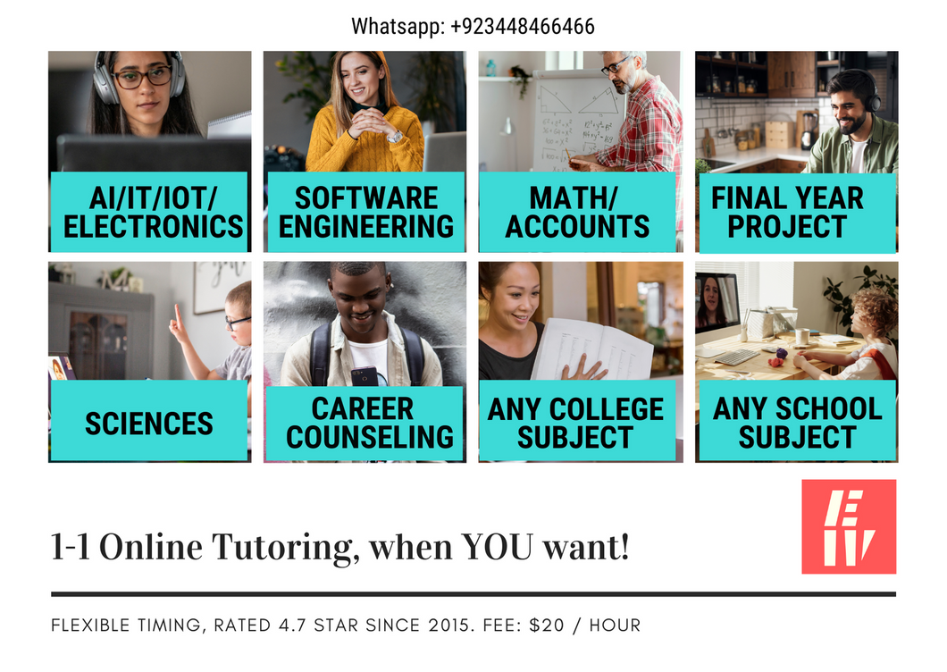 Learn online with a tutor any school or college subject (pay hourly)
