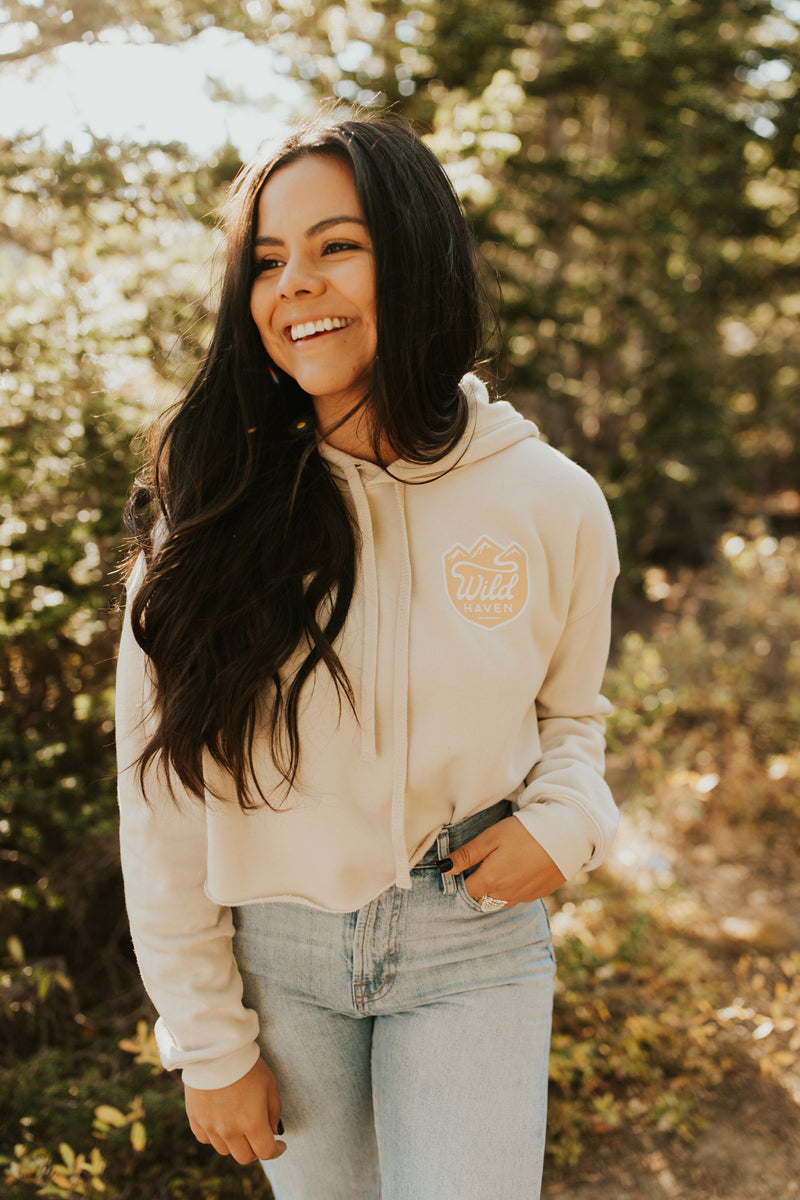 Sand and Mustard Cropped Fleece Hoodie