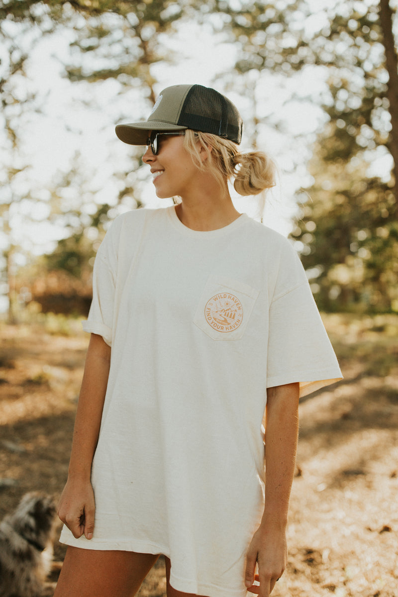 "Ivory ""Find Your Haven"" Pocket T-Shirt"