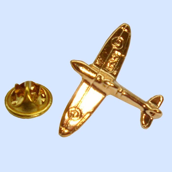 Bassin and Brown Spitfire Airplane Lapel Pin - Gold