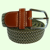 Bassin and Brown Chevron Striped Elasticated Woven Belt - Green/White