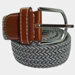 Bassin and Brown  Chevron Striped Elasticated Woven Belt - Grey