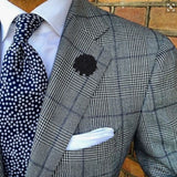 Bassin and Brown Flower Jacket Lapel Pin - Navy