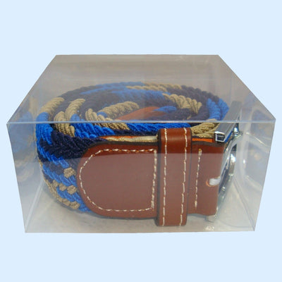 Bassin and Brown Jagged Stripe Elasticated Woven Belt - Blue, Navy and Beige