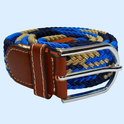 Bassin and Brown - Jagged Stripe - Elasticated Woven Belt - Blue, Navy and Beige