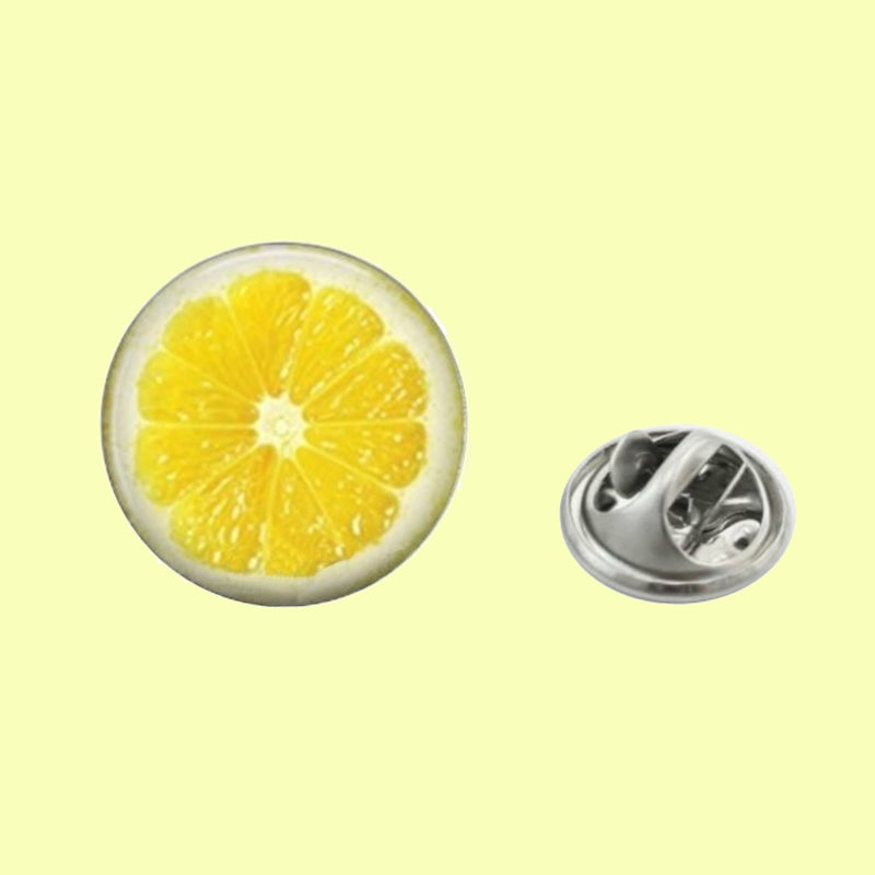 Bassin and Brown Lemon Lapel Pin - Yellow