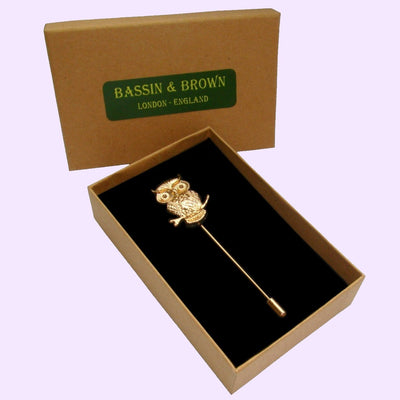 Bassin and Brown Golden Owl - Jacket Lapel Pin