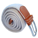 Bassin and Brown Plain Woven Belt - White