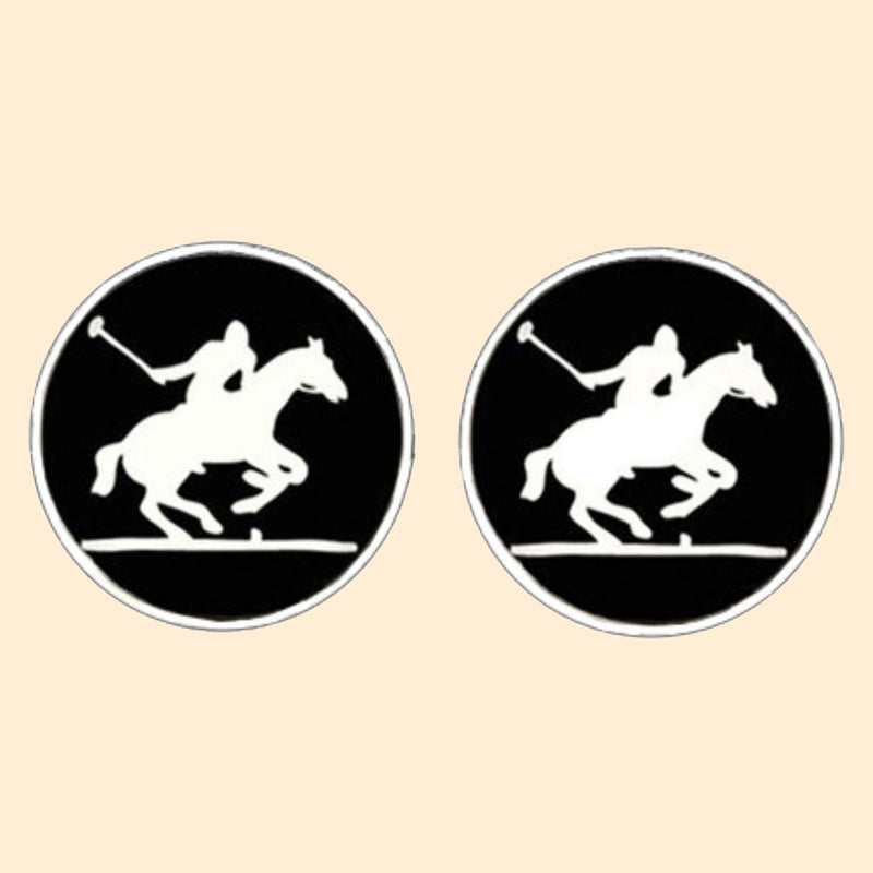 Bassin and Brown Polo Player Cufflinks - Black/White