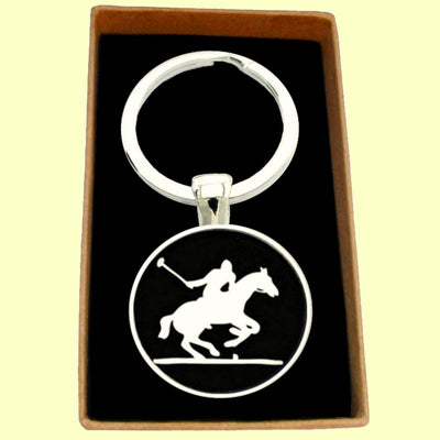Bassin and Brown Polo Player Keyring - Black/White