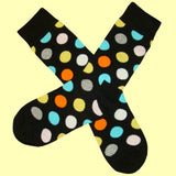 Bassin and Brown Spotted Multi Coloured Socks - Black/Orange/Lemon/Grey/White