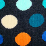 Bassin and Brown Spotted Socks - Charcoal with Blue,Orange,White and Turquoise Spots