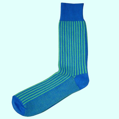 Bassin and Brown Vertical Stripe Cotton Socks - Blue/Green