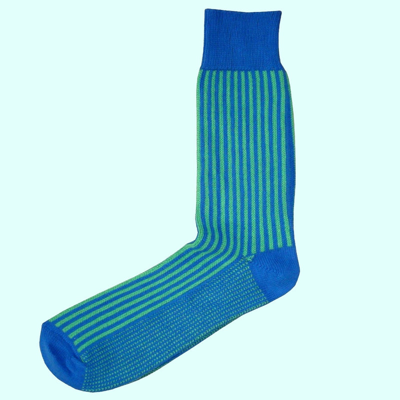 Bassin and Brown - Vertical Stripe Cotton Socks - Blue and Green