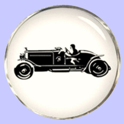 Bassin and Brown Vintage Motorcar Cufflinks- White/Black
