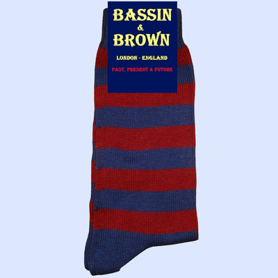 Bassin and Brown Hooped Stripe Cotton Socks - Wine/Deep Blue