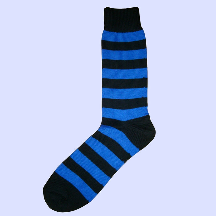 Bassin and Brown - Hooped Stripe Cotton Socks - Royal Blue and Black