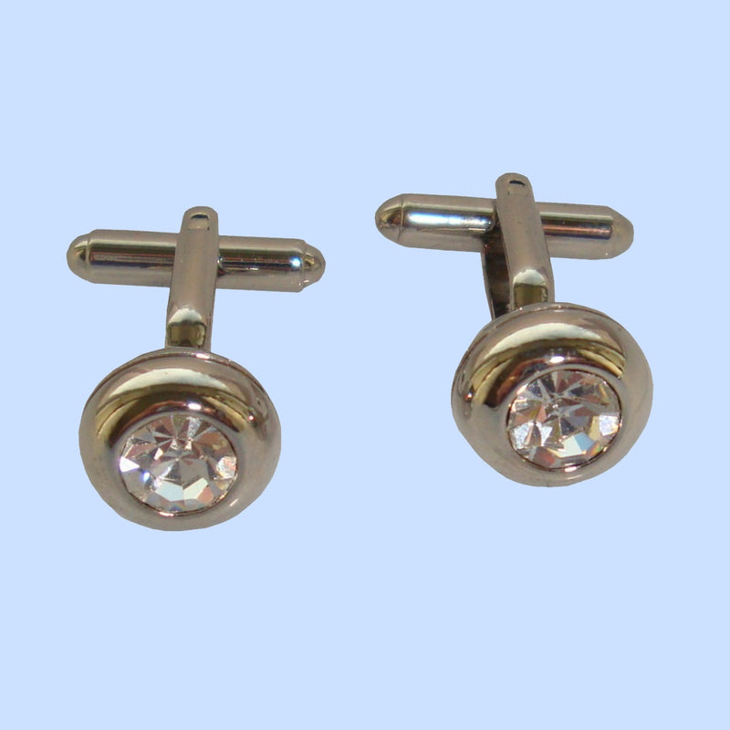 Bassin and Brown Silver Round Clear Crystal Cufflinks