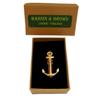 Bassin and Brown Gold Anchor Tie Bar