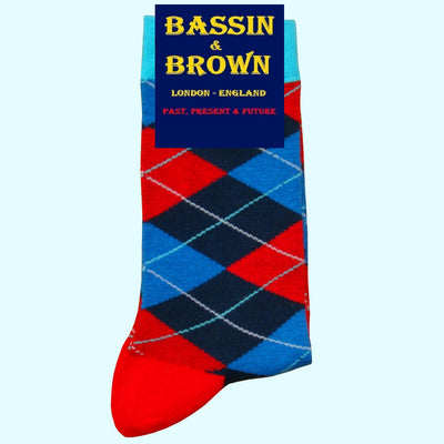 Bassin and Brown Argyle Socks Red/Blue/Navy/Turquoise
