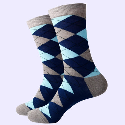 Bassin and Brown Argyle Socks Grey/Navy/Light Blue