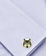 Bassin and Brown Arctic Wolf Round Cufflinks
