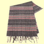 Bassin and Brown Bergkamp 100% Cashmere Check Scarf - Beige/Red.Grey