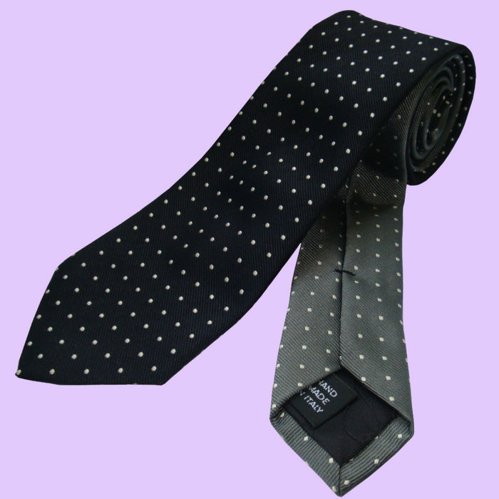 Bassin and Brown Two Colour Spot Woven Silk Tie Black/Grey