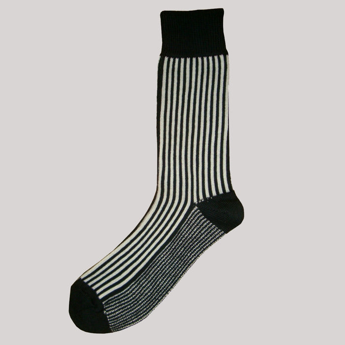 Bassin and Brown Black/White Vertical Stripe Cotton Socks