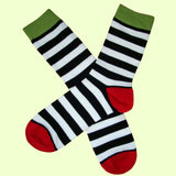 Bassin and Brown Hooped Stripe and Heel and Toe Socks Black/White