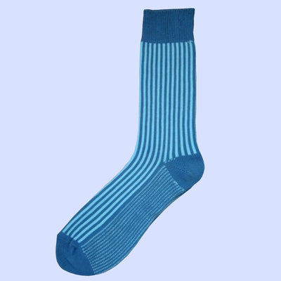 Bassin and Brown - Vertical Stripe Cotton Socks - Blue and Light Blue