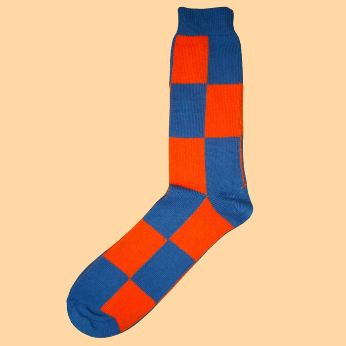 Bassin and Brown Blue/Orange Harlequin Check Cotton Socks
