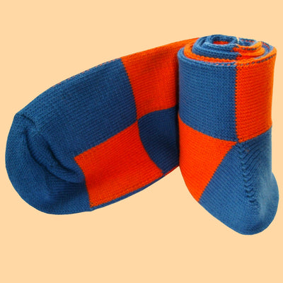 Bassin and Brown Harlequin Check Cotton Socks - Blue and Orange
