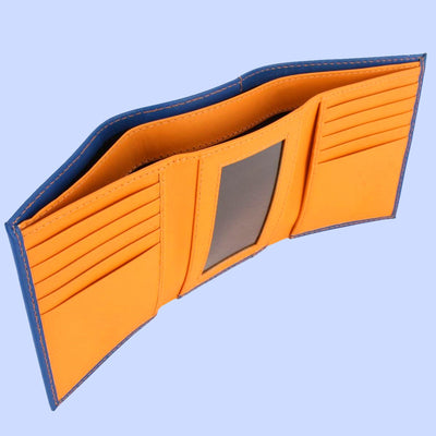 Bassin and Brown Blue/Orange Trifold 10 Card Slot Wallet