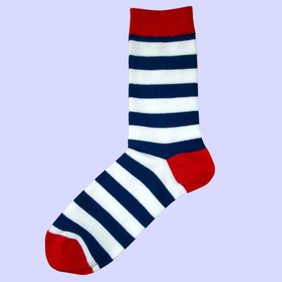 Bassin and Brown Hooped Stripe and Heel and Toe Socks Navy/White