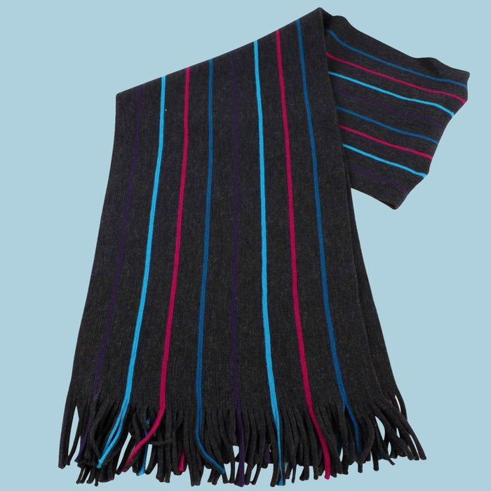 Bassin and Brown - Buckley - Wool Stripe Scarf - Charcoal, Purple, Cerise and Blue