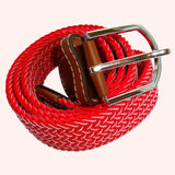 Bassin and Brown Chevron Striped - Elasticated Woven Fabric - Silver Toned Buckle Belt - Red/White