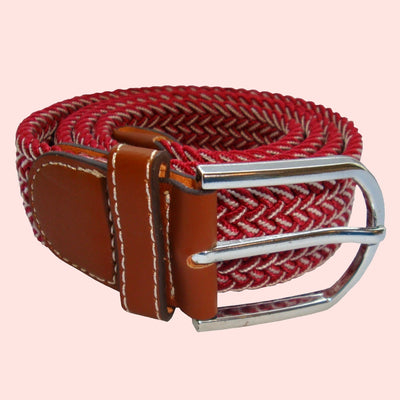 Bassin and Brown Wine Chevron Elasticated Woven Belt  - Silver Toned Buckle