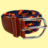 Bassin and Brown Cross Stripe - Woven Fabric Elasticated - Silver Toned Buckle Belt - Navy/Red/Yellow