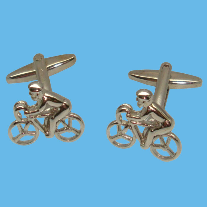 Bassin and Brown Silver Cycling Cufflinks