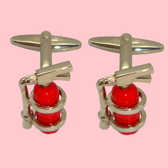 Bassin and Brown Fire Extinguisher Cufflinks - Red/Silver