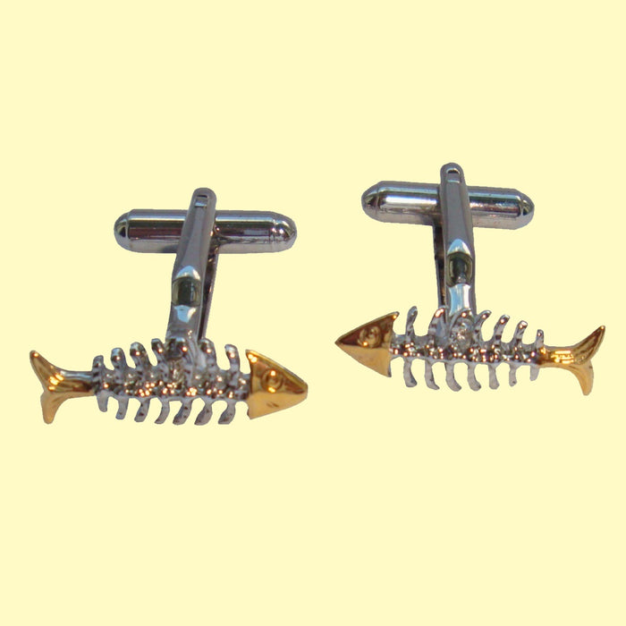 Bassin and Brown Silver Skeleton Fish Cufflinks