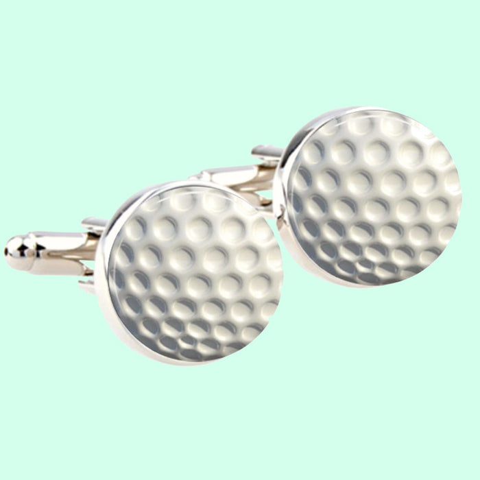 Bassin and Brown Golf Ball Round Cufflinks