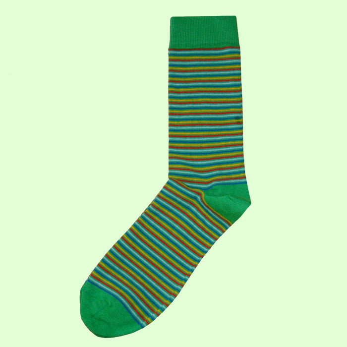 Bassin and Brown Green Fine Gauge Multi Stripe Cotton Socks